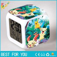 Wholesale Led Clocks For Sale - Hot sale New Style Table Clocks Creation Poke 3D Led Alarm Clock Cartoon Action 8 Color Digital Daily Desk Table Clocks For Third Side