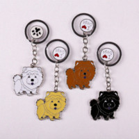 Atacado Pet Car Keychains Dogs Chow Chow Dachshunds Chaveiro Jóias Bag DIY Metal Puppy Keychains Mulher Men Key Ring Holder