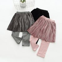 Wholesale Shop Kids Clothing Winter - 2017 new fashion kids clothing spring autumn children leggings pure color pantskirt pleuche priming pantskirt free shopping