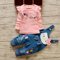 Wholesale New Girls Jeans - New kids suit girl clothing long sleeve top+jeans 2 pieces children cartoon cat clothes suit 2 colors