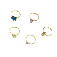 5 pcs / set Nouveau style Gold-Color avec rose bleu Beads Water Drop Finger Geometric Rings Set For Women