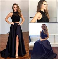 Wholesale beaded collar top - Sexy New Black Two Pieces Prom Party Dresses 2017 Beaded Rhinestones Top Satin Split Floor Length Evening Dresses