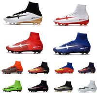 Wholesale Spike High Boots - 2017 Fishon Mens Football Boots x EA SPORTS Superfly CR7 FG Soccer Cleats High Ankle Soccer Shoes