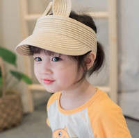 Wholesale Wholesale Straw Hats For Kids - 2017 New Lovely Baby Straw Hats For Girls Boys Character Rabbit Ears Decoration Sun Hat Kids Solid Beach Caps Children Summer Cap