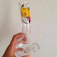 Wholesale Large Glass Beaker - New Arrival Pikachu Logo Bongs Large Mouthpiece Glass Bongs Beaker Base Recycler Perc Glass Water Pipe Oil Dabber with 14.4mm Joint Hookahs