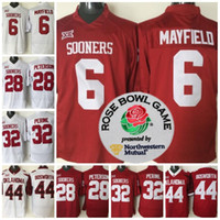 Wholesale purple football jersey 28 - Mans Oklahoma Sooners #6 Baker Mayfield 32 Samaje Perine 28 Adrian Peterson 44 Brian Bosworth College Football Rose Bowl Jersey
