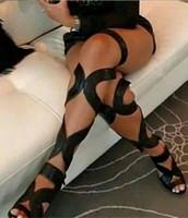 açık parmak çizme kesim sandalet toptan satış-2017 Seksi Açık Toe Gladyatör Sandalet Kadın Çizmeler Cut-Çıkışları Dantel Up Uyluk Yüksek Çizmeler Yüksek Topuklu Siyah Deri Ayakkabı Kadın Botas Mujer