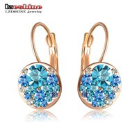 Wholesale Round Studs - LZESHINE 2016 New Fashion Round Earrings Stud Rose Gold Plated With Austrian Crystals Women Earrings Jewelry Brinco ER0118