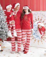 Wholesale Men Cotton Pyjamas - Xmas Christmas Family Kids Women Men Adult Sleepwear Pajamas Set Striped Cotton Pyjamas 2pc Outfits Free Shipping