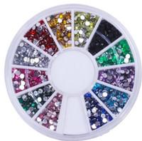 juego de decoración de uñas al por mayor-Stock Nail Art Glitter Tip 2 mm Rhinestone Deco con rueda 1200 pcs / set Envío gratis 1000set / lot H20082