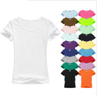 Wholesale Basic T Shirt Women Plain - Wholesale High Quality Mixed Colors S-2XL Plain T Shirt Women Cotton Elastic Basic T-shirts Female Casual Tops Short Sleeve T-shirt Women