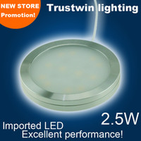Wholesale Glass Cabinet Light - 2W 2.5W LED puck light 12V 220V 110V ultra thin round LED under cabinet light kitchen lamp