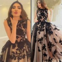 Wholesale Myriam Fares Hot - 2017 Black Appliques Tulle Prom Dresses A Line Bateau Neckline Arabic Dubai Hot Myriam Fares Celebrity Evening Party Gowns Holiday Dresses