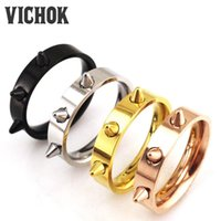 Wholesale Finger Ring Spike - 316 L Stainless Steel ring 2017 Rings Fashion Jewelry Punk 3 Spikes Punk Titanium Steel Finger Ring top quality couple rings VICHOK