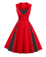 Wholesale Plus Size Retro Cocktail Dresses - Women's Retro Elegant Dress Sleeveless V-Neck Polka Dot Vintage Casual Style Christmas Cocktail Party Swing Dress