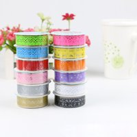 Wholesale Paper Lace Roll - DIY Candy Colors Hot Lace Tape Album Scrapbooking Decoration Roll Decorative Sticky Paper Masking Tape Self Adhesive Tape ZA2951 2016