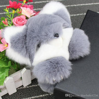 Wholesale Decorations Buy - Buy Natural Rex Rabbit Fur Keychain Fashion Bag Key chains Real Rabbit Fur Pendant Car Decorations Key rings Monster Trinket Fox