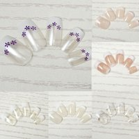 Wholesale French Artificial Nails - 24pcs set Pre-designed Fake Fingernails Full French False Nails Manicure DIY Salon Artificial Nail Tips Acrylic Art Tips Free Shipping