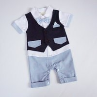 Wholesale Trendy Fashion Wholesale Clothing - Trendy Boutique Baby Boy's clothing 100% Cotton Rompers Bow Neck Cute kids clothing Fashion Boys Clothing for Sale