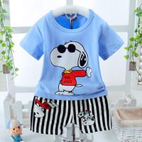 Wholesale Dog Boy Set - 2017 Summer Children's Clothing Sets baby boy sports suit sets Cartoon dog Kids clothing suit set cotton T-shirt+casual shorts Pants
