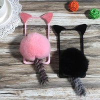 Wholesale Cute Cat Ear Iphone Case - for Samsung galaxy s6 s7 edge s8 plus note 4 5 Cute Cartoon Cat ear Pom Pom Fur Ball Tail Tassel Phone case