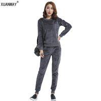Wholesale Top Model Women Suits - Women Autumn and winter models Suits Velvet Tracksuits Round neck Tops Long Pants Flannel Leisure Sporting Suits