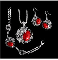 türkis schmuck set blume großhandel-Außenhandel Europa und die Vereinigten Staaten Türkis Schmetterling Blume Armband Halskette Armband drei Sätze von schönen niedlichen Schmuck weiblich