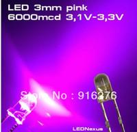 führte 3mm rosa großhandel-Hoher heller 1K LED 3mm rosa LED Korne heller Kopf SUPER HELLES ROSA 6000mcd, 1000pcs / Lot