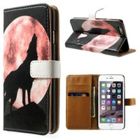 Wolf Moon Painted Patterns Flip Leather Wallet Card Стенд для чехла для Iphone 5 5s Se 6 6s 6plus 6splus / samsung S3mini S4mini