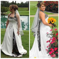 Wholesale Cheap Camouflage Sexy Dresses - 2017 Cheap Sale Halter Camo White Satin Wedding Dresses Lace Up Back Garden Camouflage Real Tree Country Garden Bridal Gowns Plus Size