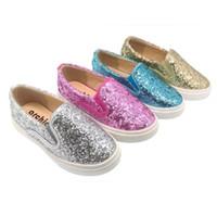 suela de goma superior de cuero al por mayor-Zapatillas para niños Shinning Glitter Multi Color suela de goma superior de cuero banda elástica Causal deporte Hip Hop zapatos para niños niñas