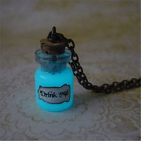 Wholesale Fantasy Jewelry - 12pcs lot Alice in Wonderland inspired Necklace Glow In The Dark Drink Me Necklace Fantasy Glowing Jewelry