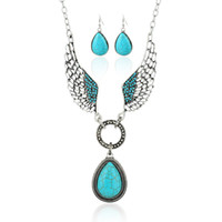 Womens Retro Turquoise Rhinestone Earrings Necklace Set Summer Bohemia Estilo Water drop Angel's Wing Jewelry Set Atacado