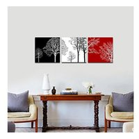 Wholesale Tree Life Artwork Paintings - 24X24inchX3pcs Hand-painted Oil Painting Colorful Tree Modern Canvas Wall Art No Framed Contemporary Artwork for Living Room and Bedroom