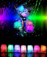 Wholesale Cube Water - LED Light Ice Cubes Flash Liquid Sensor Water Submersible LED Bar Light Up for Club Wedding Party Champagne Tower Christmas Decoration