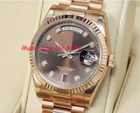 Wholesale Rubies Watch - Stainless Steel Bracelet 41mm Chocolate Diamond & Ruby Dial Everose Gold 118235 CHODRP Mechanical MAN WATCH Wristwatch