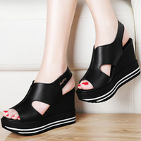 Women black magic wedge - 2017 summer leather slope with fish mouth sandals thick bottom magic paste shoes after the trip with waterproof table shoes