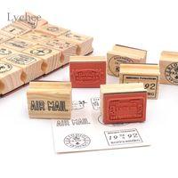Wholesale Stamp Postcard Set - Wholesale- Lychee 6 Pieces Set Vintage Travel Wooden Rubber Stamp Scrapbooking Craft Diary Postcard DIY Decoration Supplies