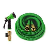 Wholesale Pressure Faucet - Expandable Garden Hose 25ft 50ft 75ft 100ft With Brass Connectors 8 Pattern Spray Nozzle Head High Pressure Expanding Garden Hoses Faucets