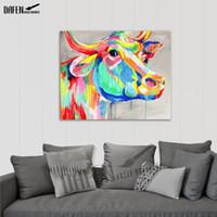 moderne abstrakte acrylmalerei großhandel-Bunte Stier 100% Handgemachtes Ölgemälde Acrylfarbe Auf Leinwand Cartoon Tier Wandkunst Moderne Abstrakte Dekoration