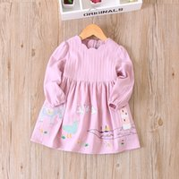 Wholesale Horse Children Clothing - Everweekend Girls Bird Horse Ruffles Dress Candy Color Autumn Sweet Children Clothing Western Fashion Princess Party Dress