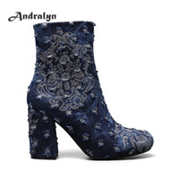 Wholesale Ladies Floral High Heel Shoes - Andralyn Autumu winter women ankle boots print Broken denim round toe high heels fashion ladies martin boot shoes