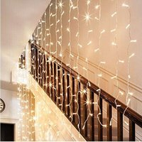 Vente en gros - Led Light Window Curtain Icicle Lights 5m Linkable Warm White Christmas Curtain String Fairy Lights de mariage pour Home Garden