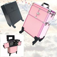 Wholesale Manicure Storage Cases - Professioal Nail Polish Manicure Makeup Trolley Case Box Organizers Storage Travel Cosmetic Bag Women Makeup Bag