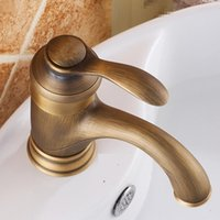 Wholesale water lever resale online - antique bathroom faucet of hot cold water faucet with single lever deck mounted bathroom basin mixer