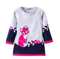 Wholesale Fox Dresses - Autumn dresses for girl Girls clothing Cute Fox Prints Lace Flowers dress Long sleeve Winter bottom dresses 2T 3T 4T 5T 6T 2017 Hotsale