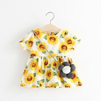 Wholesale Dress Strawberry Baby - Everweekend Cute Toddler Baby Girls Sunflower Floral Dress with Cross Bags Candy Color Strawberry Pineapple Cotton Dresses
