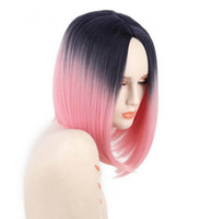 Wholesale Pink Cosplay Wigs Short - Joy&luck Ombre Black Pink Short Bob Wig Straight Hair High Temperature Fiber Synthetic Wigs For Women Cosplay Wigs