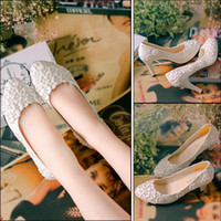 Wholesale Shoe Bride Cheap - Sweet Cheap Flat Pearls Wedding Shoes For Bride 3D Lace Appliqued Prom High Heels Ankle Strap Plus Size Pointed Toe Bridal Shoes