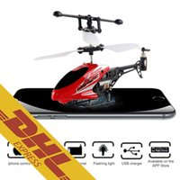Wholesale Rc Helicopter For Iphone - 24pcs lot IR Mini RC Helicopter Alloy Diecast Gyro 3.5CH iPhone Android Infrared Remote Radio Control Plane Quadcopter Drone Toy for Kids